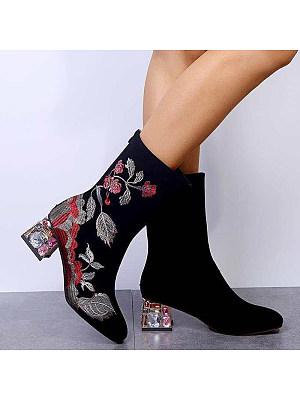 berrylook Women's nude boots with back zipper