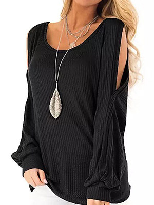 Round Neck Plain Long Sleeve T-shirt, 25039295