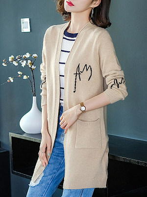Long Letters Long Sleeve Knit Cardigan фото