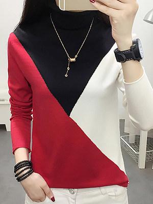 Short High Collar Color Block Long Sleeve Knit Pullover, 10599298