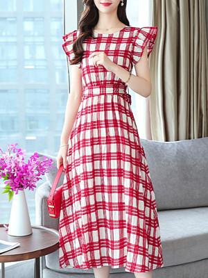 Fashion Check Waist Waist Thin Dress