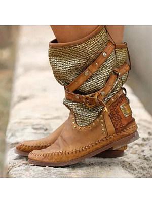 berrylook Women's boots with belt buckle