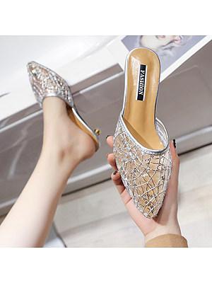 Fashion mesh gauze wear pointy heelless sandals
