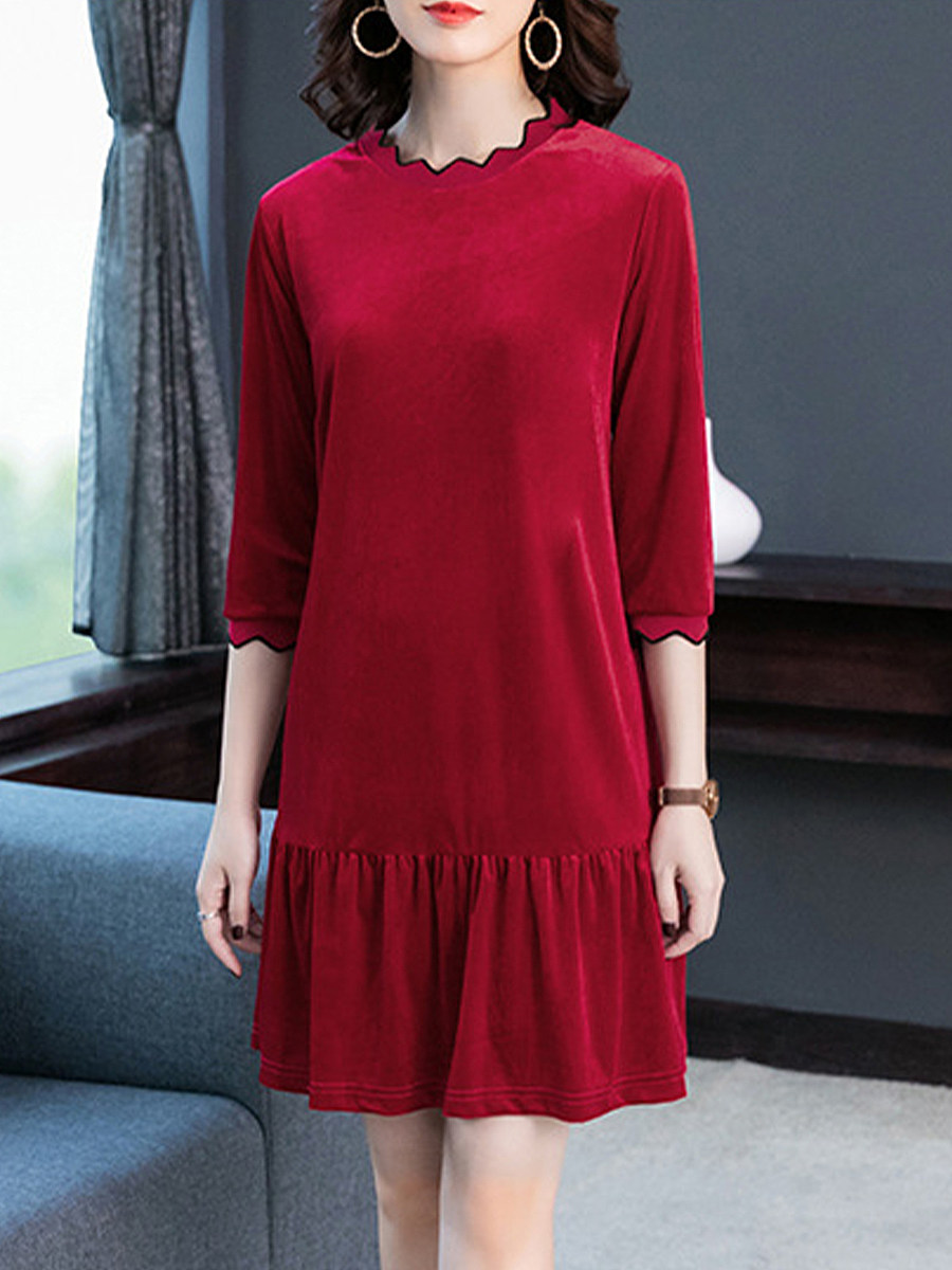 Womens Commuting Round Neck Splicing Loose Dress - from $16.95