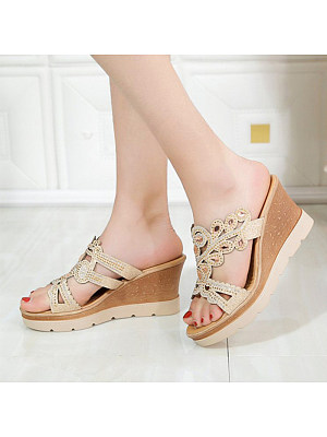Casual Women Non-slip Hollow Out Rhinestone Sandals