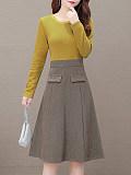 Fashion contrast color high waist A-line midi dress