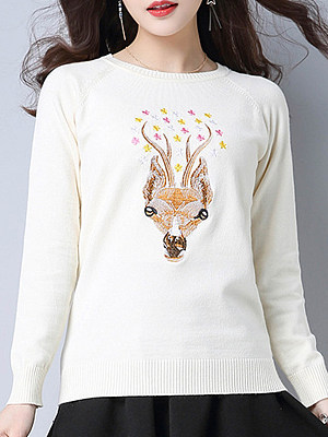 Round Neck Cute Print  Long Sleeve Knit Pullover