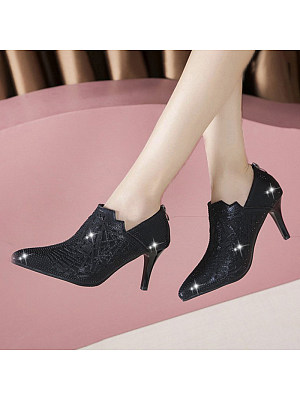 Women's Fashion Solid Color Rhinestone Pointed High Heels, 10966277