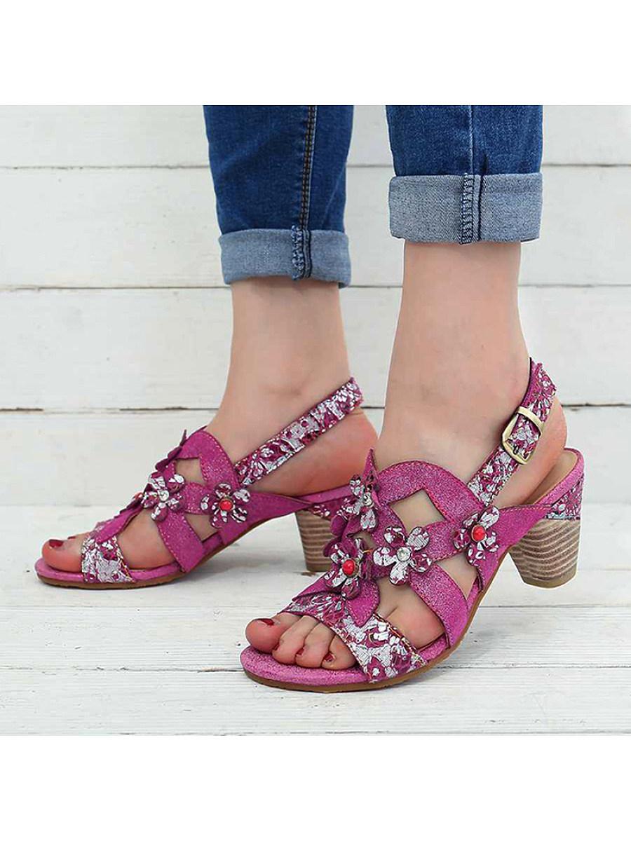 BerryLook Women's fashion ethnic flower high heel sandals