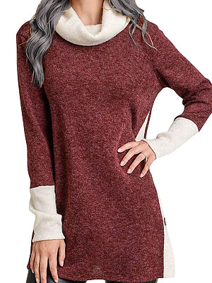 Women's Winter Casual Colorblock High Collar Side Slit Sweatshirt gender:female, season:winter,spring, collar:boss, texture:polyester, sleeve_length:long sleeve, sleeve_type:regular sleeve, style:japanese and korean style, collar_type:short high collar, design:split, dress_occasion:daily, bust:110,clothing length:84,