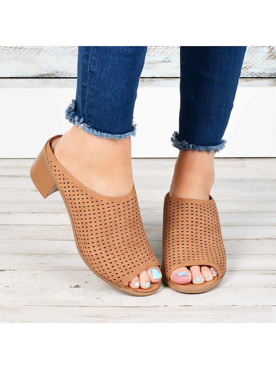 BerryLook Women's fashion comfortable cutout block heel sandals
