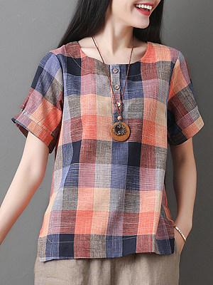 Round Neck Plaid Short Sleeve Linen Blouse, 11560207