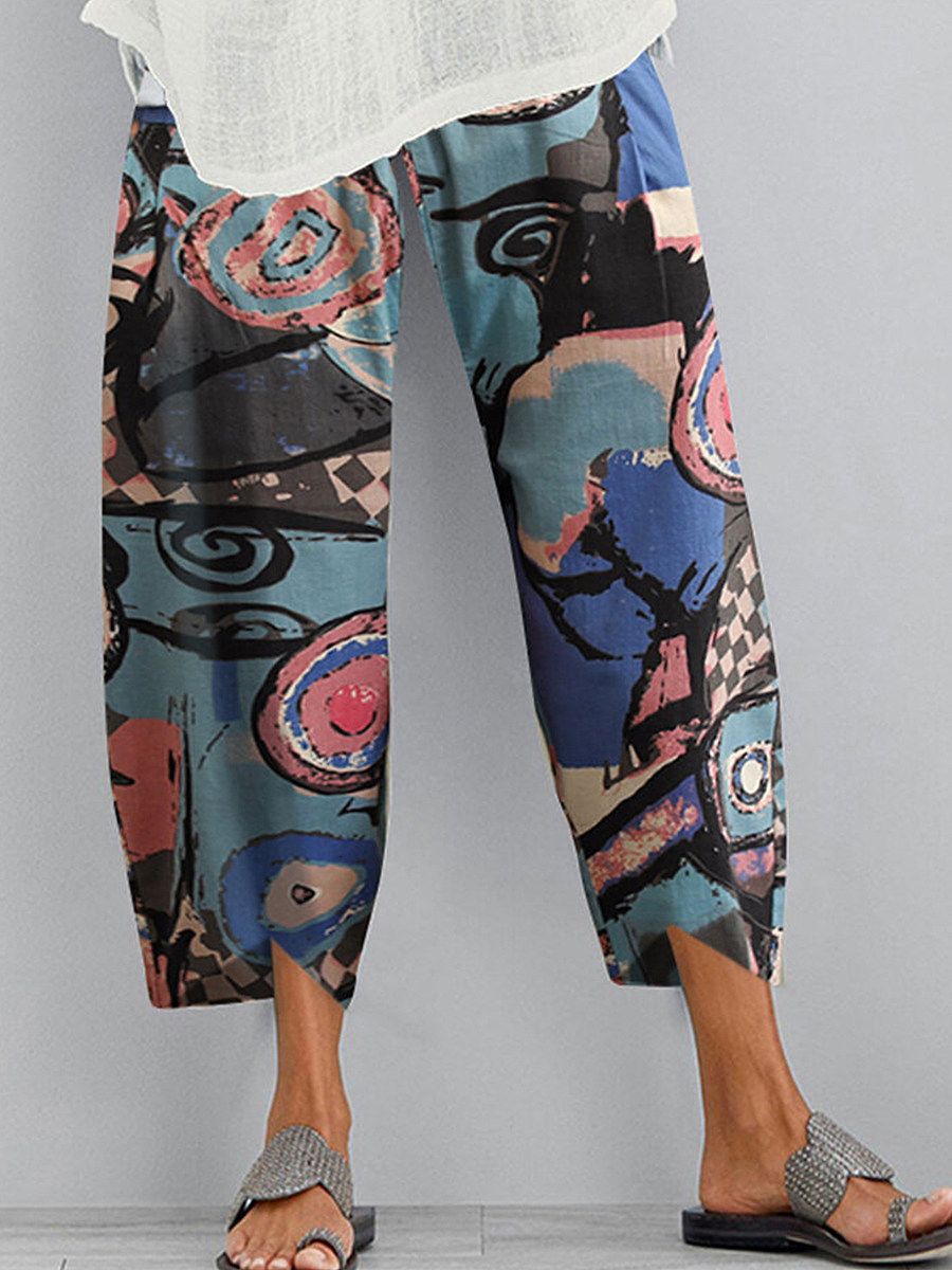 Fashionable cotton and linen printed wide-leg split casual pants