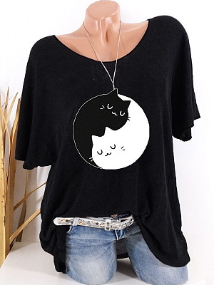 Round Neck Cat Printed Short Sleeve T-shirt фото