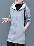 Image of Large size loose hooded long-sleeved jacket plus velvet padded sweater