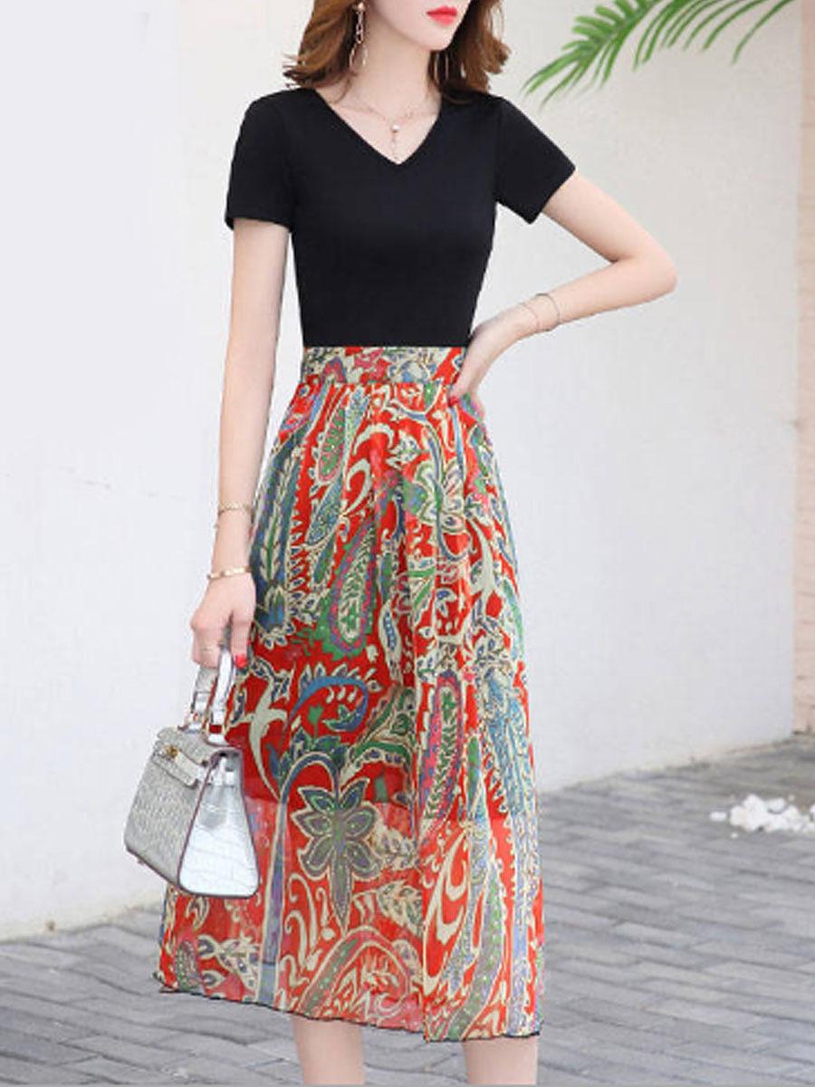 New Korean temperament V-neck floral dress