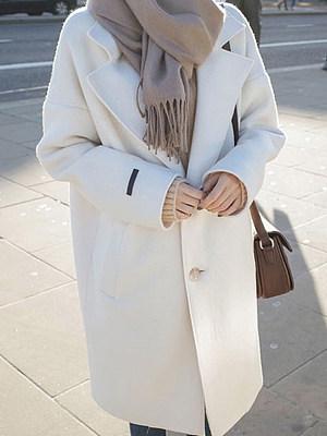 Fashion Loose White Mid-Length Woolen Coat