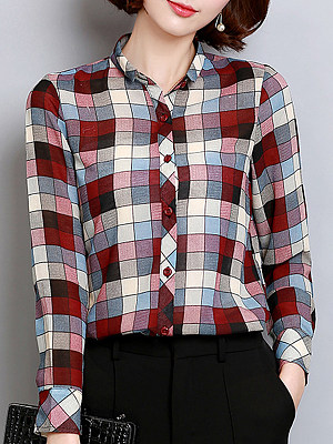 Turn Down Collar Plaid Long Sleeve Blouse, 11333296