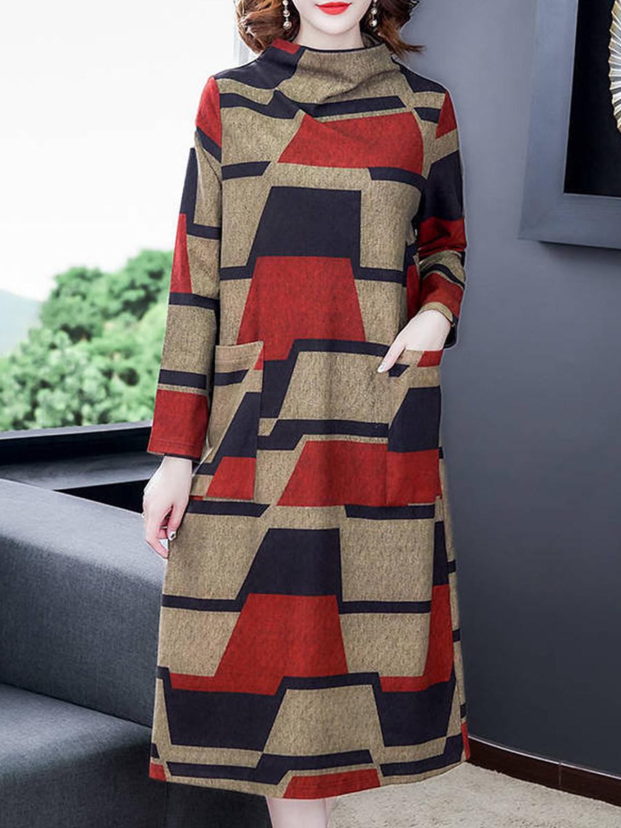 BerryLook Half High Collar Long Sleeve Printed Dress