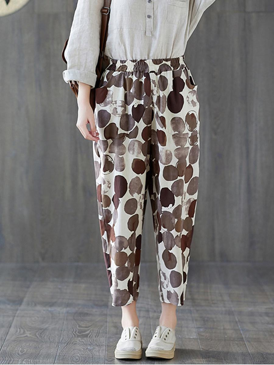 BerryLook Fashion literary wild nine-point pants loose printed casual pants