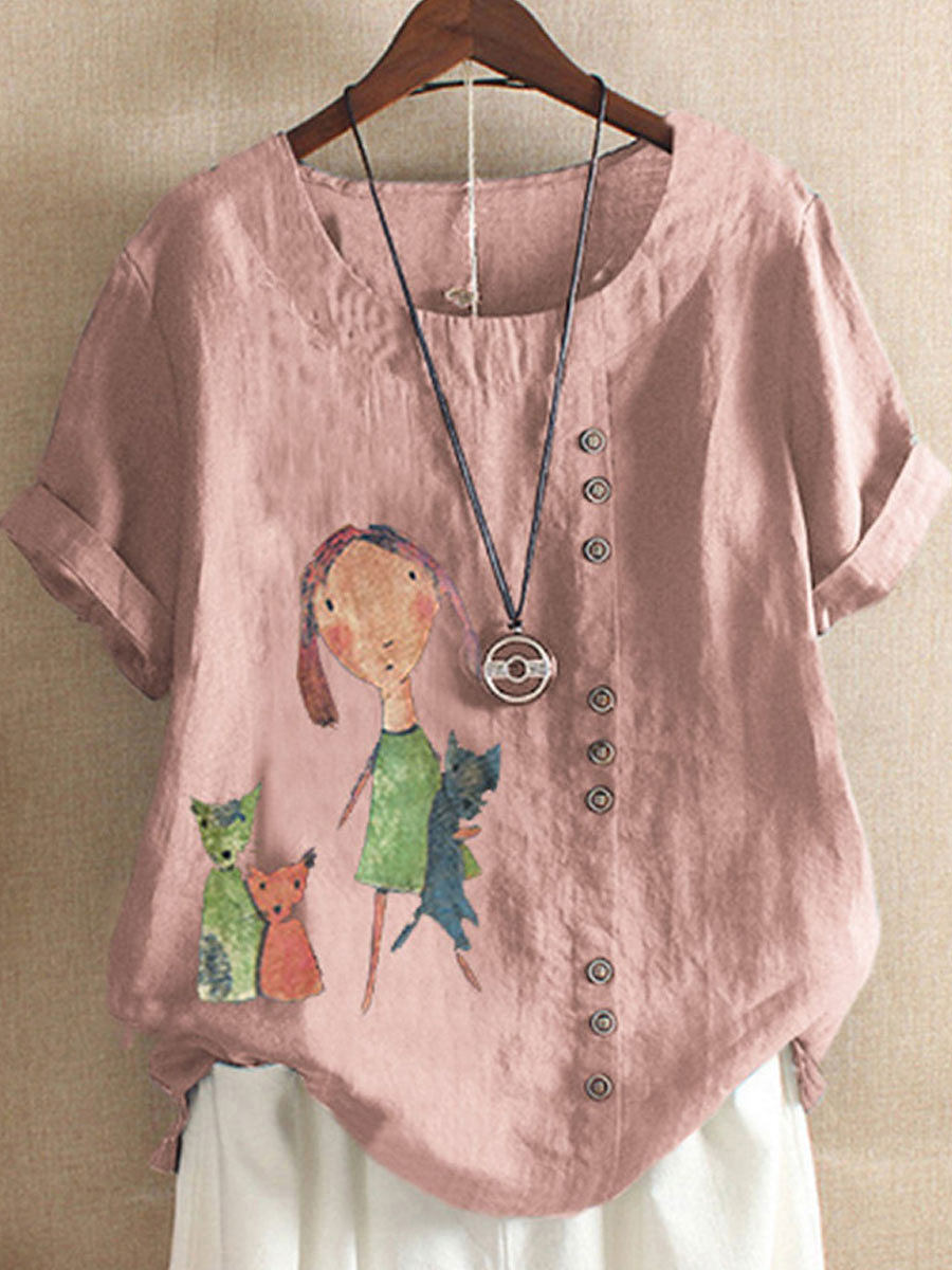 Cartoon Printed Cotton And Linen Casual Short-Sleeved Blouse