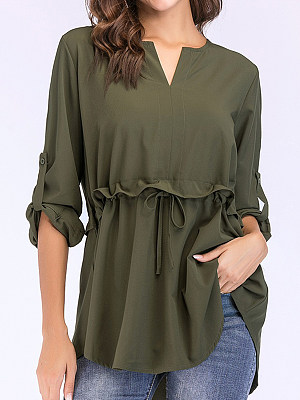 V Neck Patchwork Plain Long Sleeve Blouse, 11116014