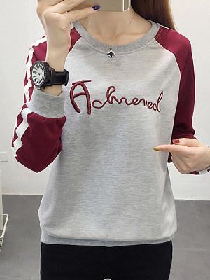 Fashion Colorblock Printed Crew Neck Sweater, 11410553