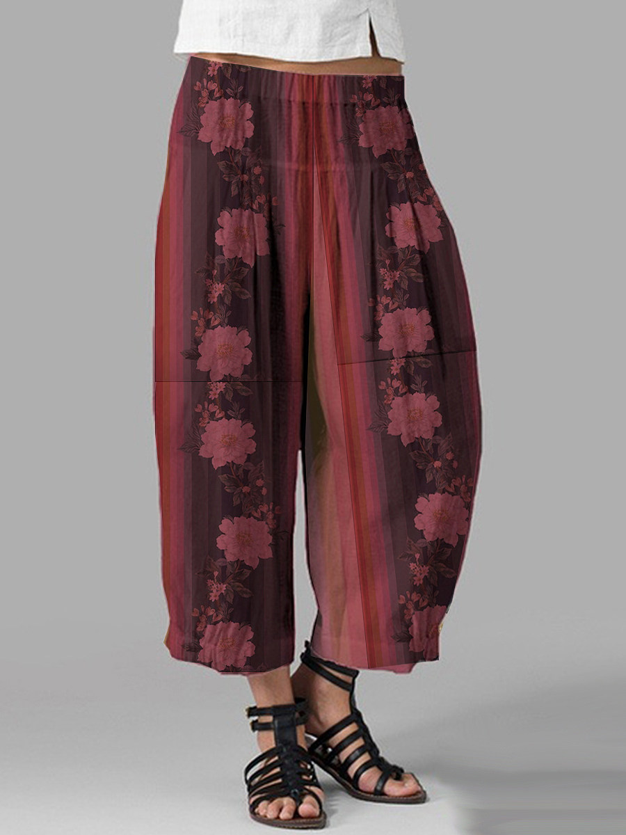 BerryLook Fashionable cotton and linen printed loose wide-leg pants