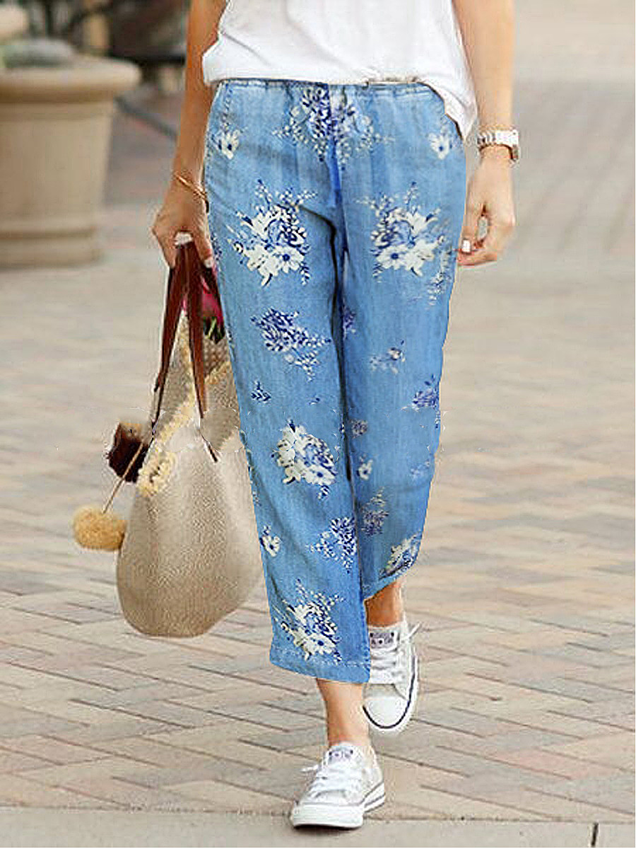 Casual Denim Printed Cropped Trousers