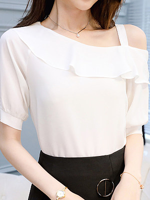 Open Shoulder Plain Short Sleeve Blouse, 11166280