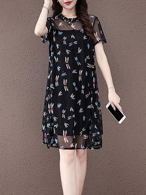 Loose And Slim Mid-Length Printed Mesh Dress фото