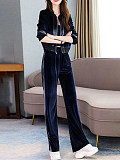 Image of Two-Piece Gold Velvet Casual Wide-Leg Pants