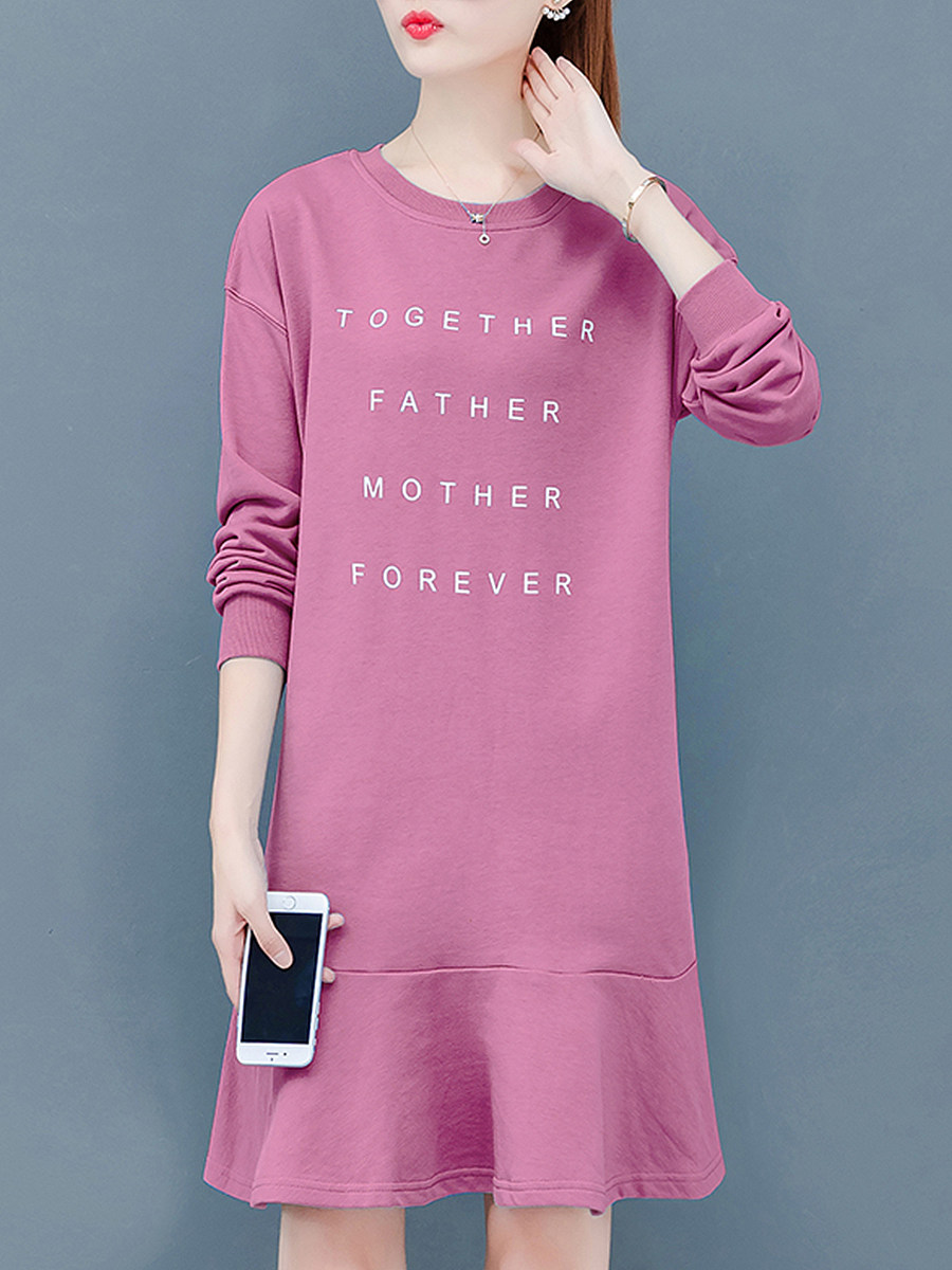Lady Round Neck Letter Printed Shift Dress - from $19.95