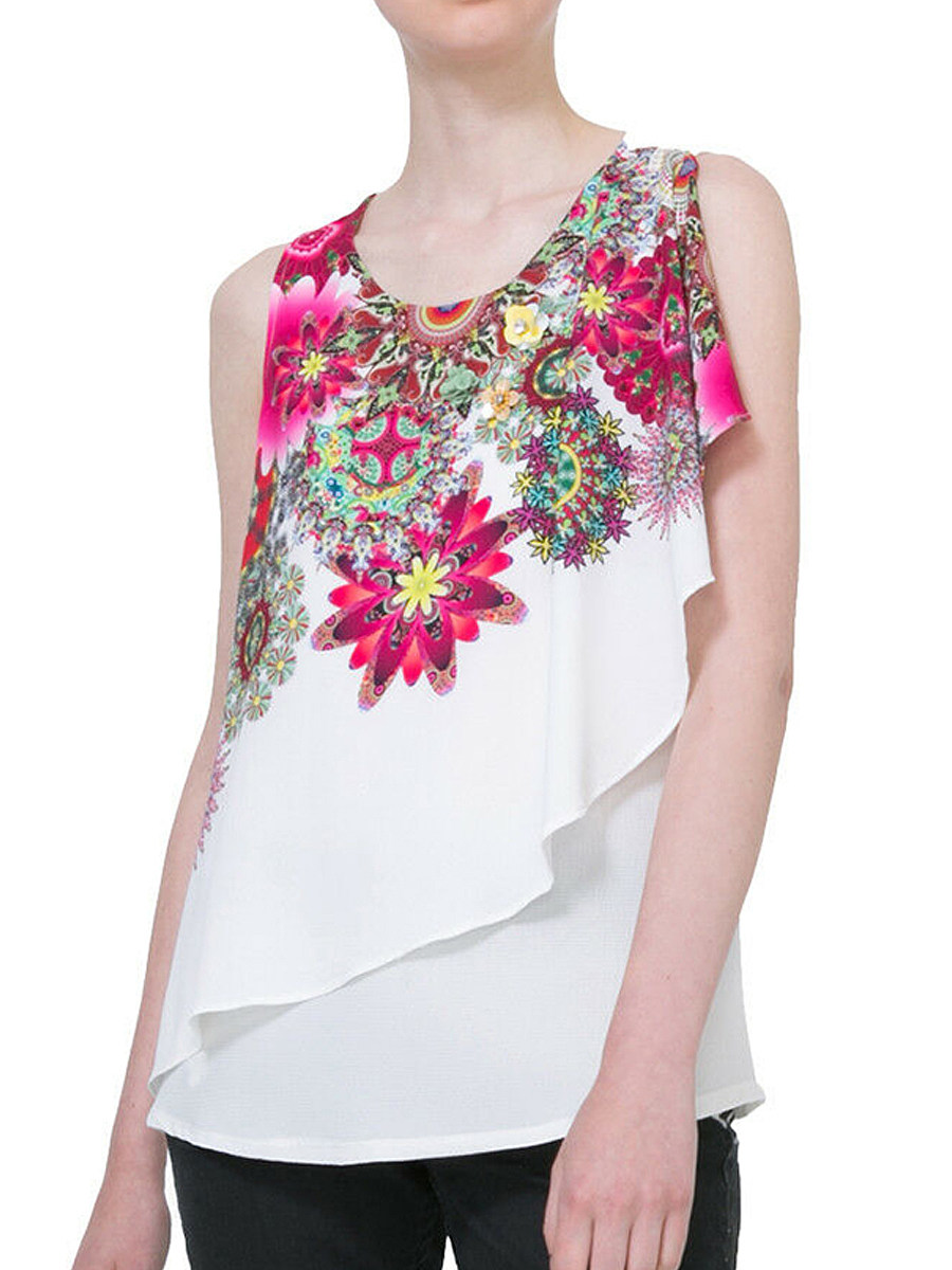 Round Neck Floral Print Fake-two-piece Sleeveless Blouse