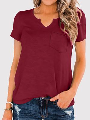 V Neck Plain Short Sleeve T-shirt фото