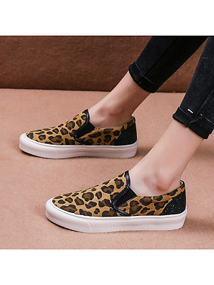 Leopard pattern color-blocking fashion one-leg casual sneakers, 11178509