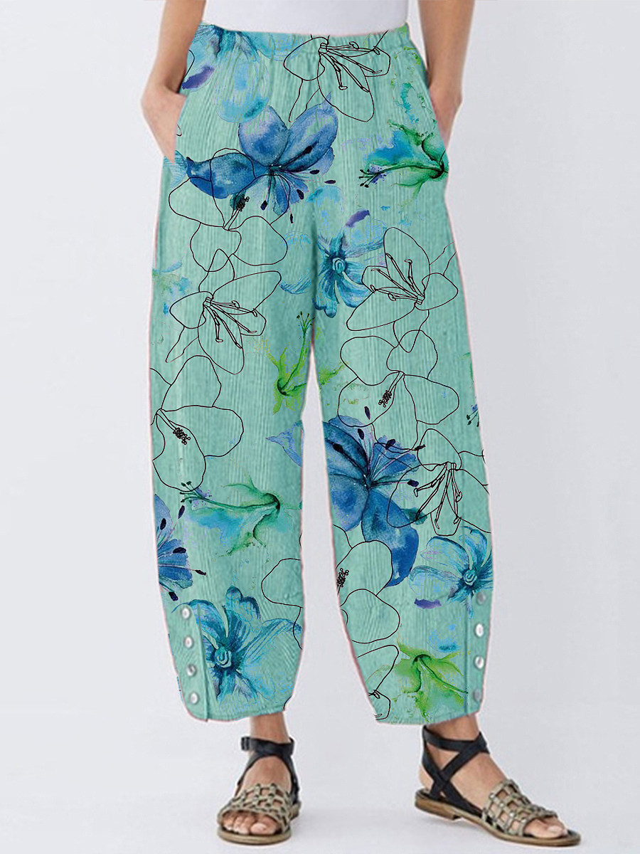 BerryLook Fashion and fresh printed cotton and linen wide-leg pants