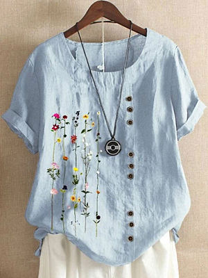 Berrylook coupon: Plus Size Retro Cotton And Linen Printed Short-Sleeved Blouse