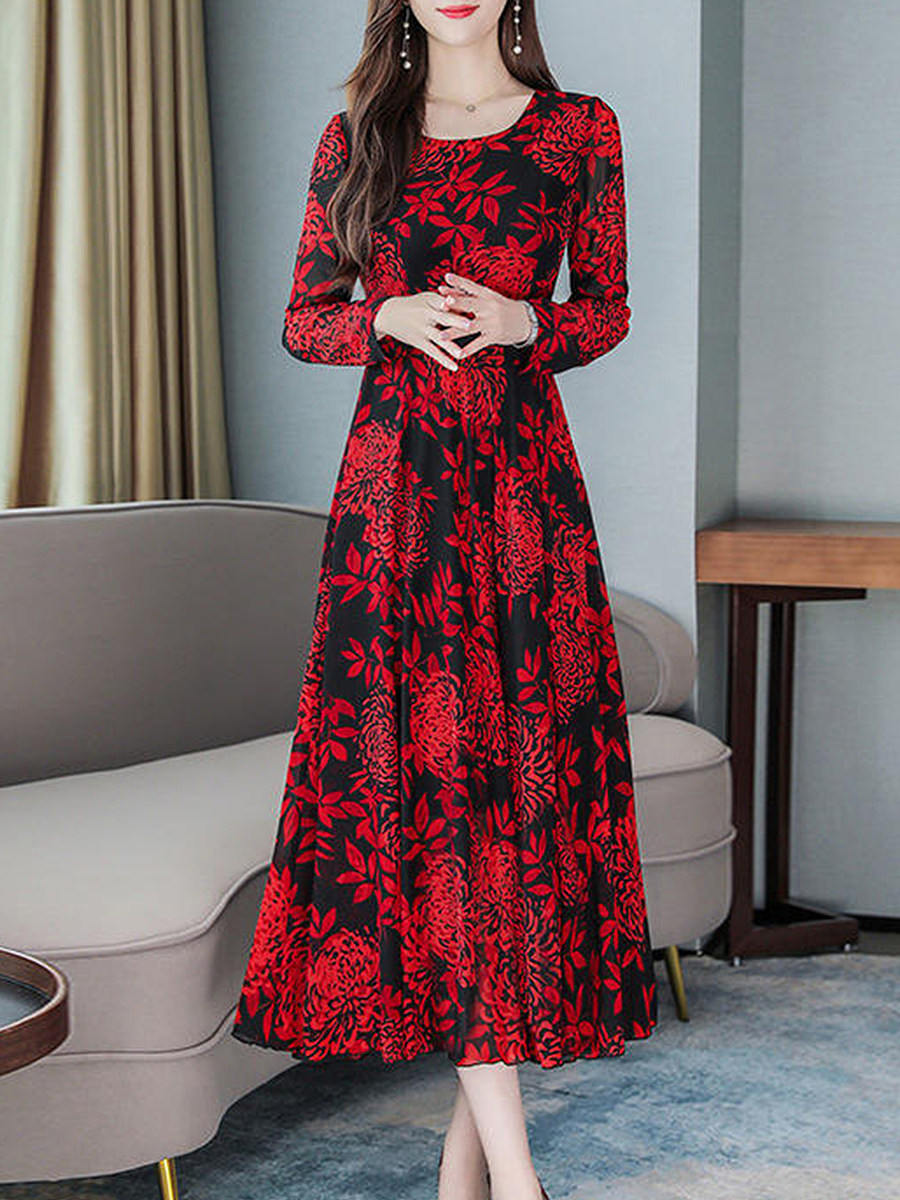 Fashion Floral Printed Long Sleeve Round Neck Maxi Dress - from $20.95