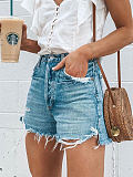 Summer loose buttons ripped fringed jeans shorts hot pants women's clothing
