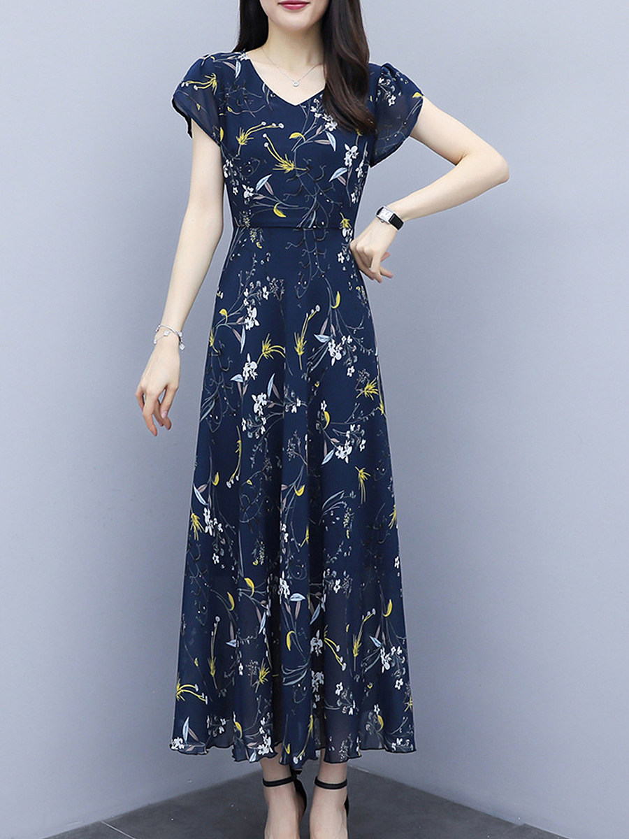 V- Neck Floral Printed Maxi Dress