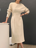 Image of Solid Color Long-Sleeved Round Neck Bag Hip Dress