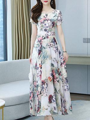Berrylook coupon: Fashionable Chiffon Printed Elegance Dress