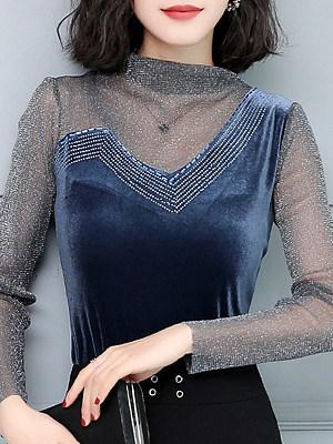 Heap Collar Patchwork Elegant Long Sleeve T-Shirt, 11156797