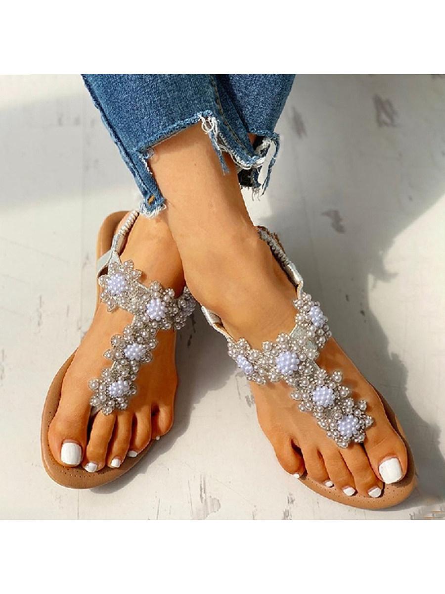 BerryLook Bohemian Rhinestone Beaded Ethnic Flip-Flop Sandals