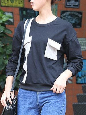 Round Neck Loose Colorblock Sweatshirt фото