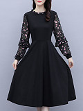 Image of Long Sleeve Round Neck Print A-line Dress