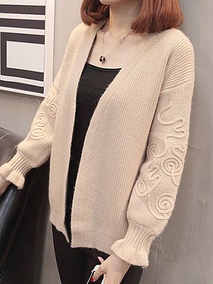Elegant Plain Long Sleeve Knit Cardigan, 10390835