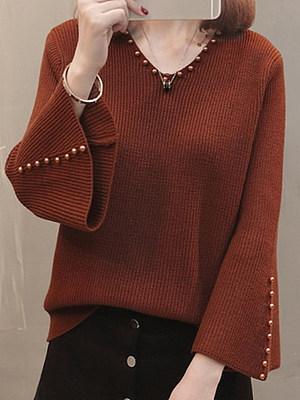 V Neck Elegant Plain Beading Long Sleeve Knit Pullover, 10315446