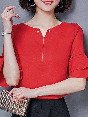 V Neck Elegant Beading Plain Short Sleeve Blouse, 11270520